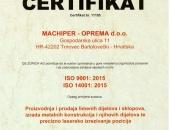 ISO Certifikat 9001, 14001:2015 + eng